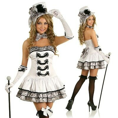 Womens White Burlesque Fancy Dress Costume Outfit