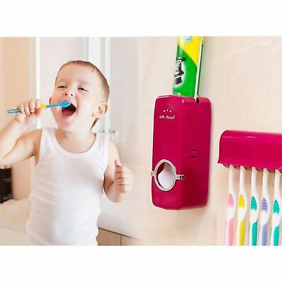 Auto Families Automatic Toothpaste Dispenser +5 Toothbrush Holder Set Wall Mount