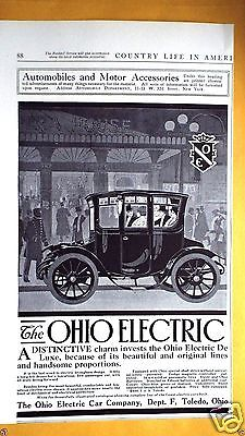 1911 OHIO Electric and POPE HARTFORD auto ads Country Life in America Magazine