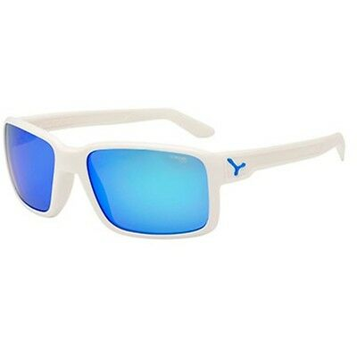 Cebe Dude Sunglasses (1500 Grey Fm Blue Lens Matt White Frame)