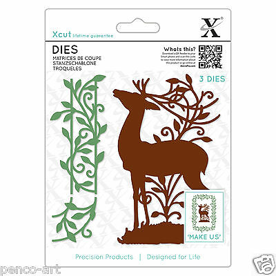 3 piece Large Xcut die Woodland stag with leafy borders  Any die cutting machine