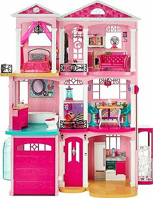 Girls Barbie 3 Storey Doll Dream House Play Set With Furniture Christmas Gift