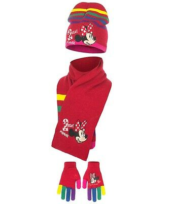 Disney Minnie Mouse Girls 3 Pcs Hat Gloves and Scarf Set One Size 4 to 9 Years G