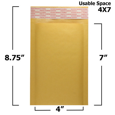 """25 Pack - 4"""" x 7"""" #000 Kraft Bubble Mailers Self Seal Padded Shipping Envelopes"""