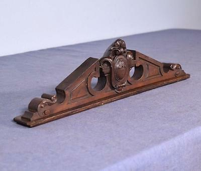 "*17"" Petite French Antique Pediment Architectural Crown Walnut Wood Crest Trim"