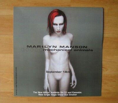 "MARILYN MANSON -Promotional 12"" x 12"" DISPLAY CARD  (Flat) MECHANICAL ANIMALS"
