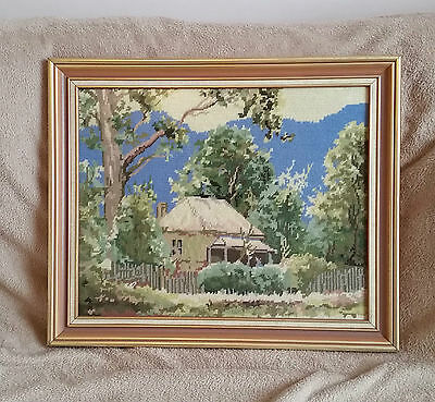 Wallace Beames 1996 A COTTAGE NEAR WARBURTON after MUTSAERS Hand worked Tapestry