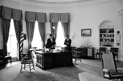 John F Kennedy , John & Robert  meet in the Oval Office during the Steel crisis