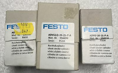 (3) New Festo Cylinders. 2 of ADVU-20-25-P-A  and 1 of ADVULQ-20-25-P-A