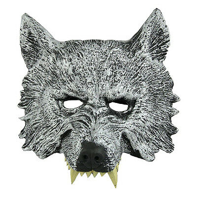 Grey Wolf Head Mask for Cosplay Halloween Masquerade T1