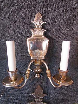 4*TOP QUALITY* 1930s ANTIQUE SILVER PLATE over BRONZE ELECTRIC WALL SCONCES