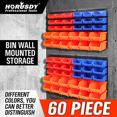 60Pc Tool Storage Bins Parts Box Shed Workshop Organiser & 2 Wall Mounted Boards