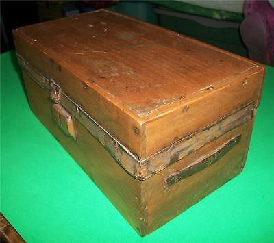 Antique Rustic Wooden Box With Leather Handles In Excellent Condition