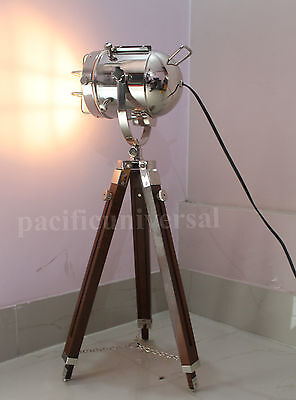 Vintgae Searchlight Designer Nautical Tripod Floor Lamp Light With Wooden Stand