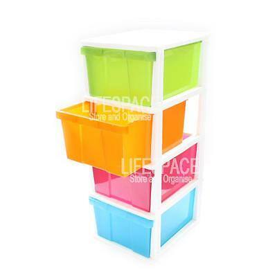 NEW Large 4 Drawer Plastic Storage Unit Multi Colour Free Standing