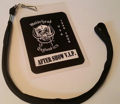 Motorhead 1980 BackStage Pass 2-sided!  Signatures + Lanyard  LOOK!! nice! lemmy