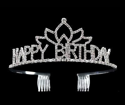 Happy Birthday Party Tiara Crown Headband Headwear Jewelry Crystal Rhinestone