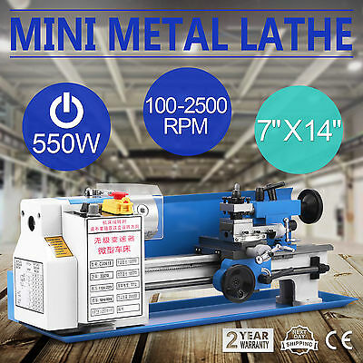 """7""""x14"""" Mini Metal Lathe Metalworking Drilling Readout Bench Top Precision Cutter"""