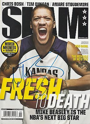 Michael Beasley Signed Kansas State Wildcats SLAM Magazine COA Autographed