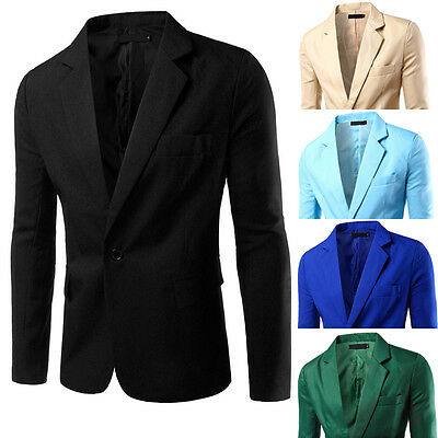Fashion Mens Men Casual Slim Fit Formal One Button Suit Blazer Coat Jacket Tops