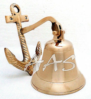 Solid Brass Wall Hanging Boat Ship Bell~Marine Nautical Brass Anchor Door Bell
