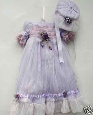 Exquisite 20-22'' High-end  Princess Purple Lace Reborn doll Clothes Dress gift