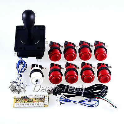 Happ Arcade Control Panel Kit Arcade Buttons Wires & USA Joystick & USB Cables