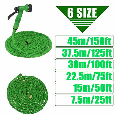 Expandable Durable Garden Hose Pocket Pipe Spray Nozzle 25 50 75 100 125 150Ft