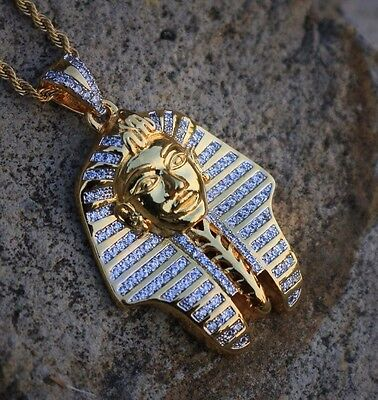 "18K Gold Pharaoh King Tut Egyptian Pendant Charm 24"" Rope Chain Necklace"