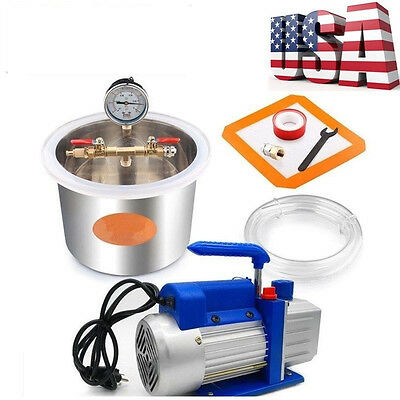 1.32 Gallon Stainless Steel Vacuum Degassing Chamber Kit 4CFM Single Stage Pump
