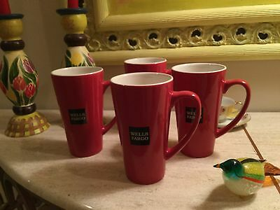 SALE 4 NEW Wells Fargo Bank Coffee Hot Cocoa Tall Mugs Cups Red ~ MINT NEW!