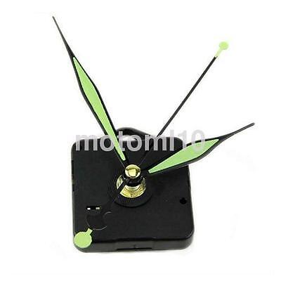NEW Silent Quartz Wall Clock Movement Mechanism Part + Green Luminous Hands UK