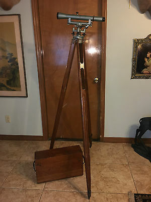 Antique Early 1900's Surveyor Level With Tripod And Wooden Storage Case