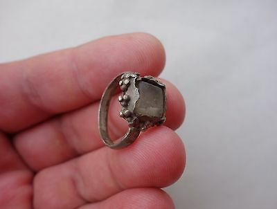 ancient late Roman - Middle Ages silver ring, with mountain crystal stone
