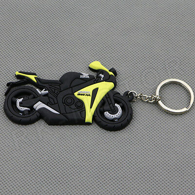 Cool Motorcycle Rubber Keyring Keychain Chain Ring For Honda CBR1000RR Yellow