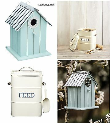 Kitchen Craft Living Nostalgia Cream Bird Feed Storage Tin or Bird House in Blue