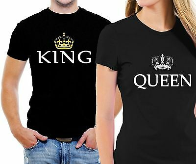 King and Queen Couple Matching Love T-Shirt His and Hers New Cool Design