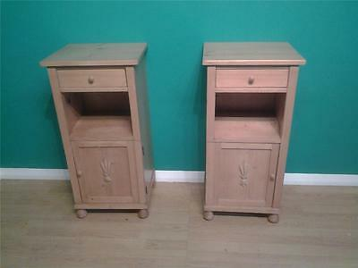 Pair of vintage Art Deco pine pot cupboards bedside tables cabinet