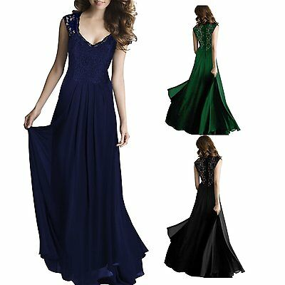 Women Lace Maxi Formal Evening Party Elegant Bridesmaid Ball Gown Prom Dress