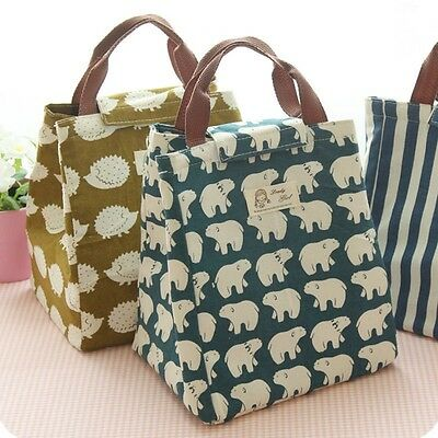 Chic Lunch Bag Containers Cooler Box Preservation Portable Tote Storage Canvas