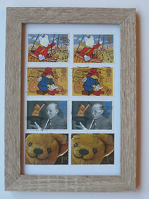 Favourite Bears Framed Collectable Gb Postage Stamps. Rupert, Paddington, Sooty