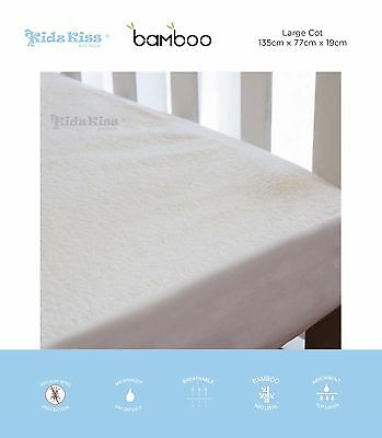 Kidz Kiss Bamboo Waterproof Fitted Mattress Protector / Cover for Large Cot