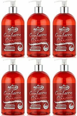 6 x Astonish Hand Wash 500ml Cranberry & Cinnamon Christmas Scent Anti-Bacterial