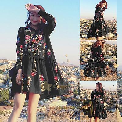Women Printing embroidery Long Sleeve Party Evening Cocktail Short Mini Dress