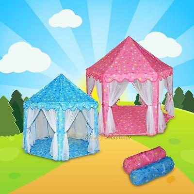 Blue/Pink Tent Playhouse Canopy Princess Castle Baby Bed Girls Play Set House