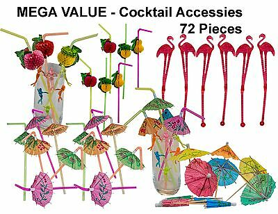 KITSCH, COCKTAIL ACCESSORY PACK, with flamingo swizzle sticks and party straws