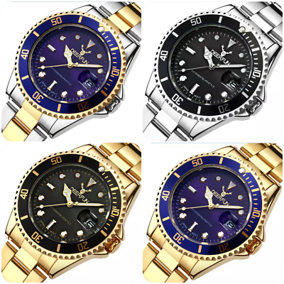 Luxury brand mens womens stainless steel watch water resistant quartz gift