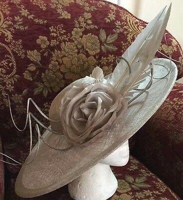 Stunning Large Silver Grey Disc Fascinator by Nigel Rayment BNWT