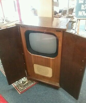 Vintage 1950s Pye Television Set In Tall Cabinet