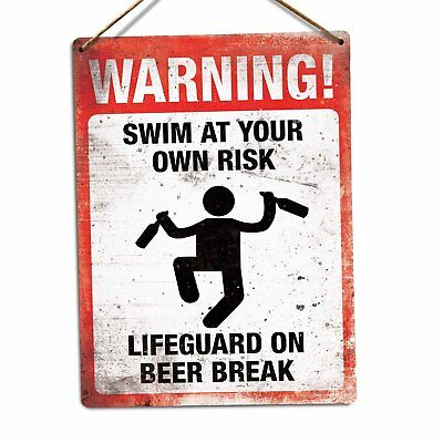 WARNING! Swim at your own risk Metal Wall Sign Plaque Art Fun Hot Tub Pool Beer